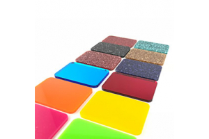 Different plastic panels with colours and textures