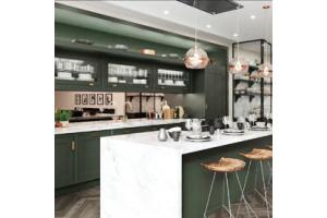 High end kitchen with mirrored splashbacks