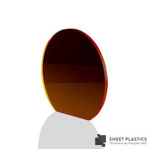 3mm Orange Tinted Acrylic Disc Bespoke Size -