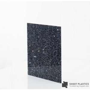 3mm Black and Silver Glitter Acrylic Sheet Cut To Size