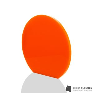 3mm Orange Acrylic Disc Bespoke Size -