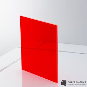 10mm Red Fluorescent Sheet Cut To Size